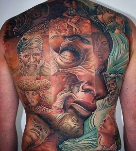 optical illusion full back tattoos for men