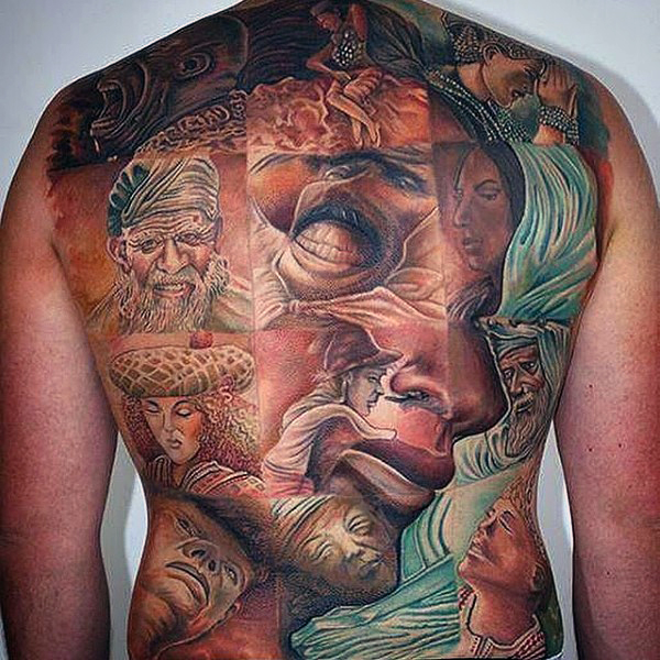 optical illusion full back tattoos for men