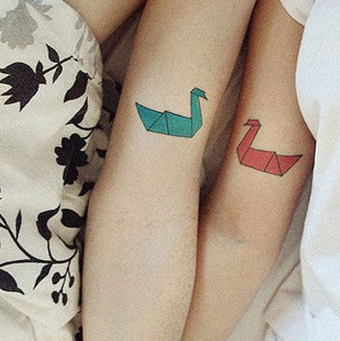 origami couples tattoos