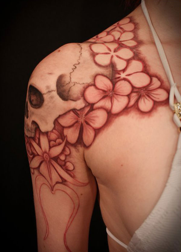 2fffb17d6 Beautiful & Sensational Girl Shoulder Tattoos of Flowers and Skull Tattoo  Design