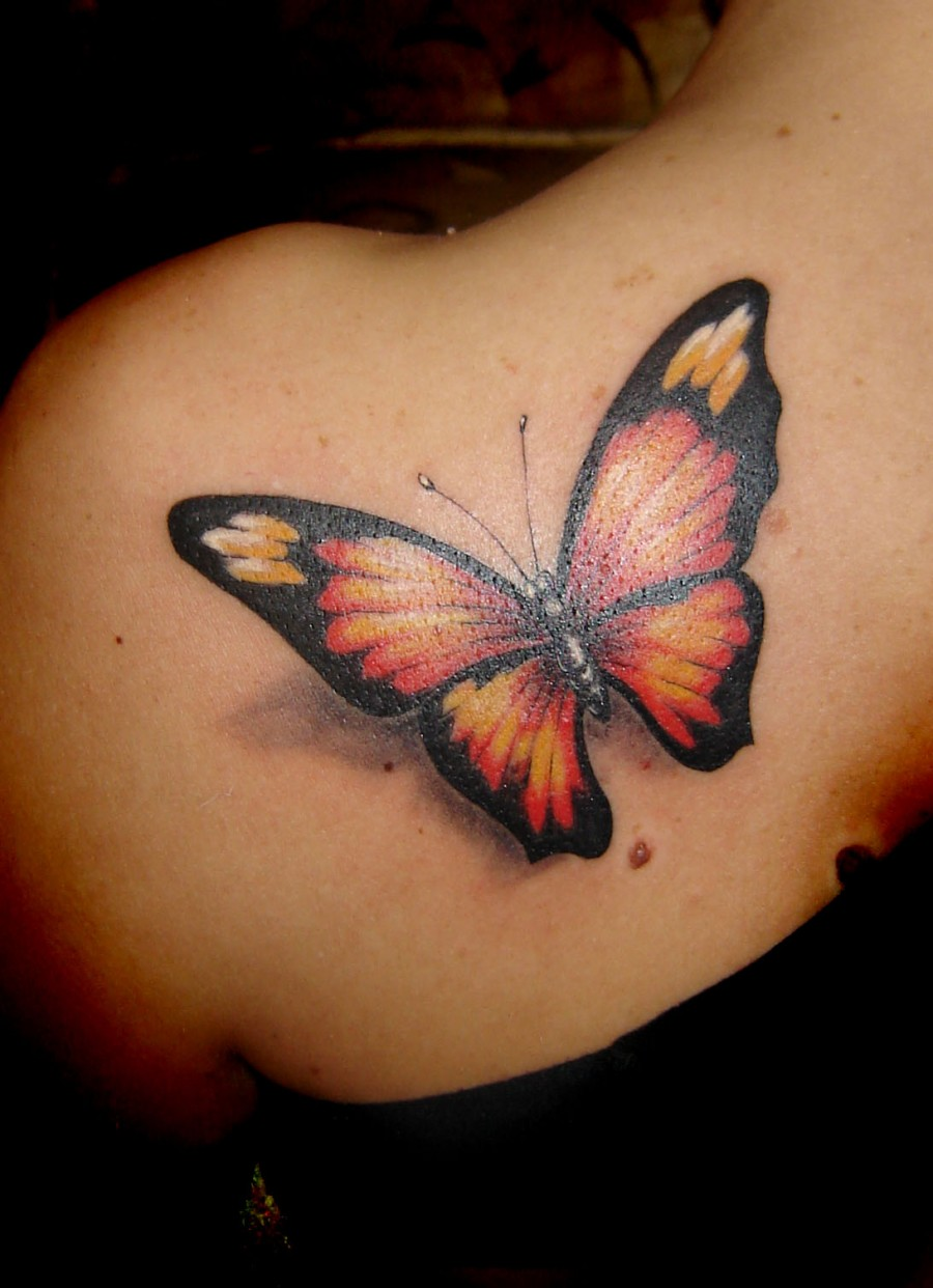 Very Beautiful Life-like Butterfly Shoulder Tattoo Designs for Women