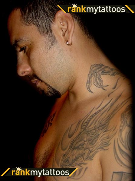 Mythical Tribal Dragon Tattoo Wraps Over-Shoulder and Neck Dragon – Tattoos for Men
