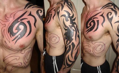 Tattoo Designs of Tribal Tattoo Over-Shoulder / Sleeve Tattoo Designs