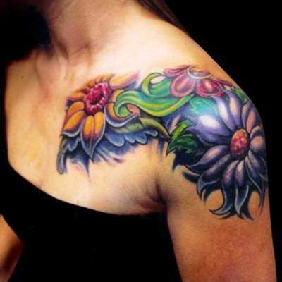 Amazing Colorful Flower Shoulder / Sleeve Tattoo Designs for Women