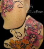 Lovely Orchids Over-the-Shoulder Tattoo Designs for Women