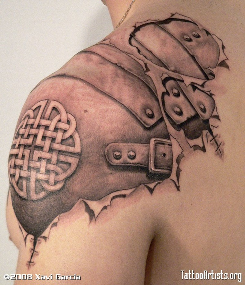 Awesome Realistic Over-the-Shoulder Tattoo of Armory for Men