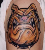 Stylish Cartoon Bulldog Shoulder Tattoo Designs for Men