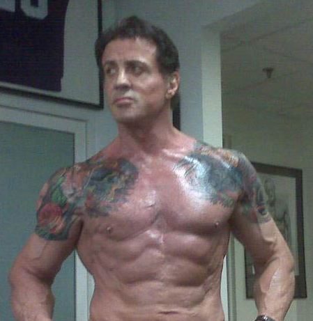2012 Sylvester Stallone Over-the-Shoulder Tattoos Photos – Celebrity Tattoos