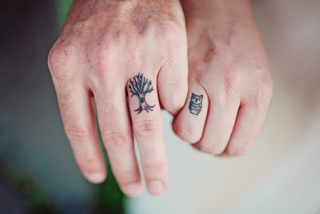 owl and tree couples tatttoos