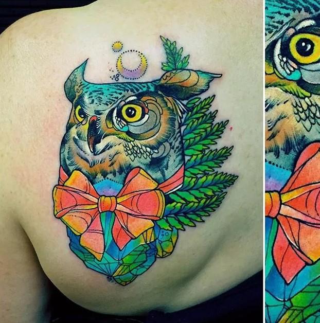 owl trippy tattoo