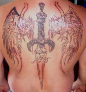 Wings and Sword Full back Tattoo Layout