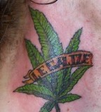 Legalize Ganja Marijuana Green Neck Tattoo
