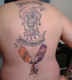 The Joker Upper Back and Cola Bottle Lower Back Tattoo NFSW