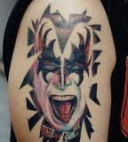 KISS Gene Simons Retro Rock Band Face Bicep's Tattoo