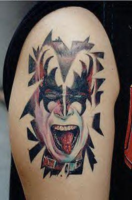 KISS Gene Simons Retro Rock Band Face Bicep's Tattoo