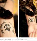 Cat Paw Print Tattoo In left Hand For women