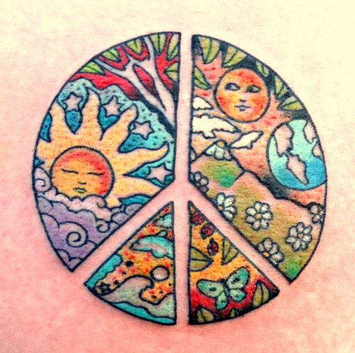 Colorful Peace Tattoo Pictures Gallery
