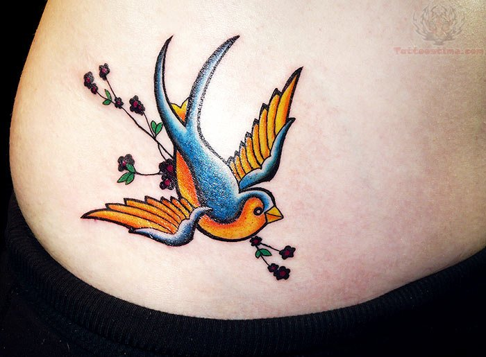 Colorful Swallow Hip Tattoo For Girls