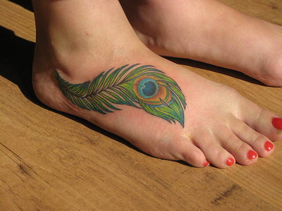 Peacock Feather Tatoo Design on Foot