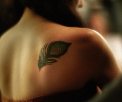 Small Peacock Feather Tattoo for Women