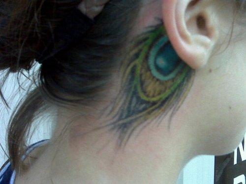 Cute Peacock Feather Tattoo on Ear