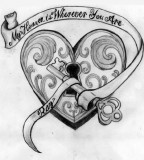 Heart Key Tattoos Design On Paper