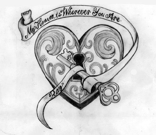 Heart Key Tattoos Design On Paper