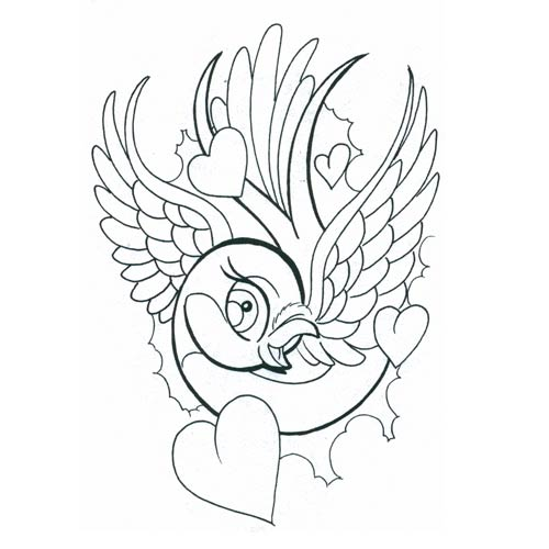 Bird With Heart Tattoo Designs Images