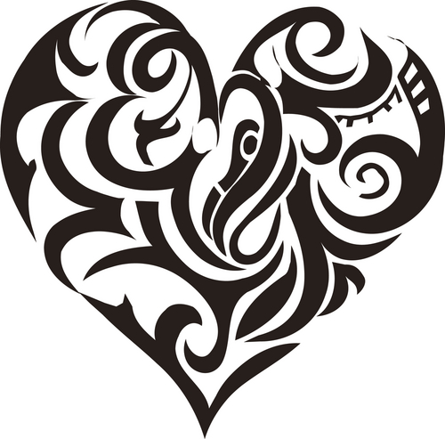 Funky Tribal Heart Tattoos