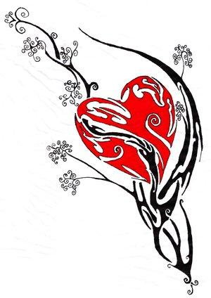 Graffiti Paper Tribal Heart Tattoos Designs