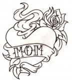 Flower And Heart Tattoo Design