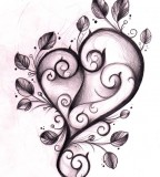 Purple Leaf Love Heart Tattoos