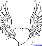 Draw a Heart With Wings Tattoo