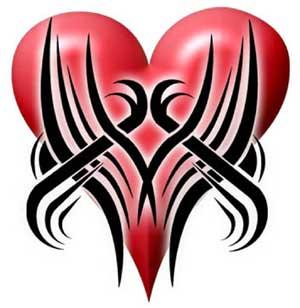 Extreme Tribal Tattoo Heart Design
