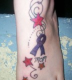 Breast Cancer Pink Ribbon Foot Tattoos