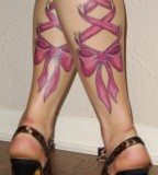 Pink Leg Tattoos For Girls