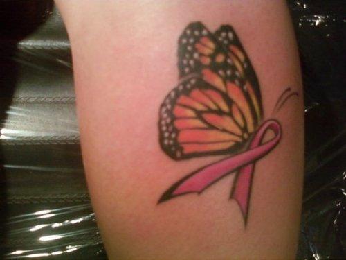 Pink Ribbon Butterfly Tattoo
