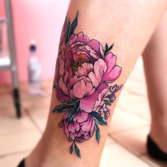 pink watercolor flower tattoo