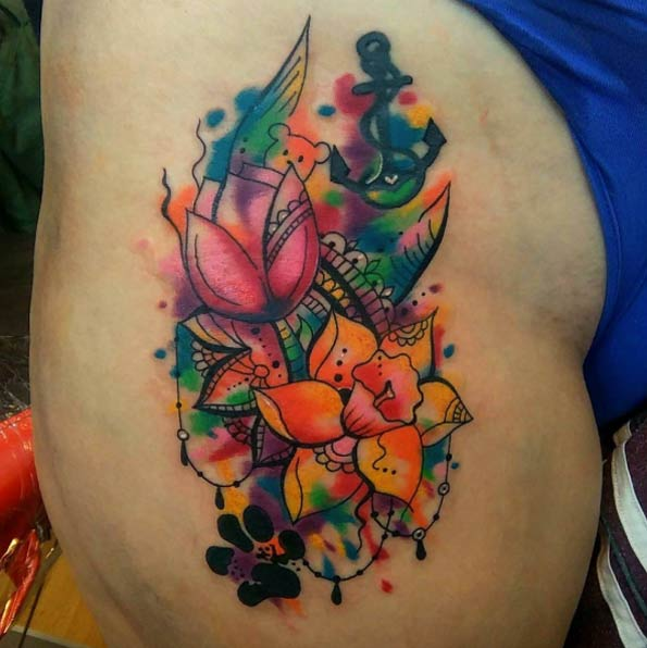 playful flower tattoo