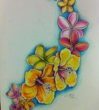 Colored Hibiscus And Plumeria Tattoo By Lilmrsfrankenstein