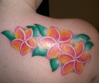 Plumeria with Greean Leaf Tattoo