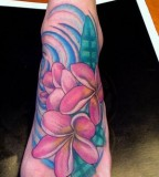 Baeutiful Color of Plumeria Tattoo By Sean