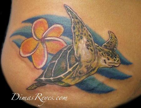 Realistic Turtle With Plumeria Tattoo Design