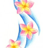 Plumeria FLowers and Wave Tattoo Design
