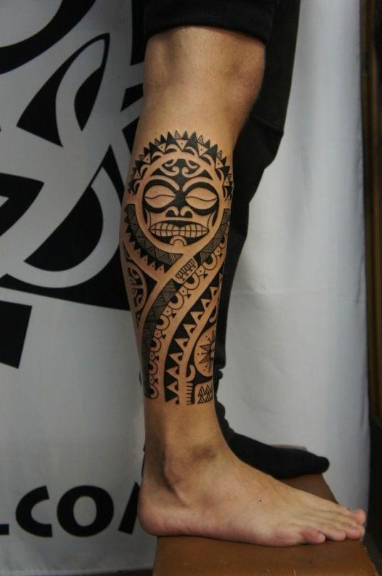 polynesian calf tribal tattoo