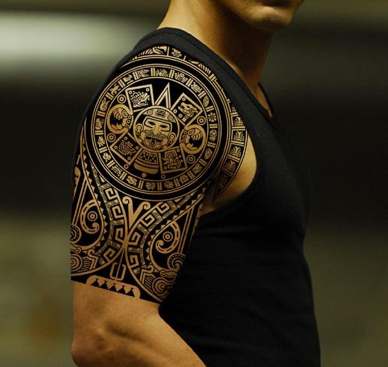 polynesian shoulder tribal tattoo
