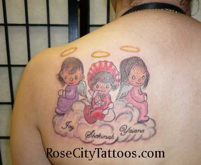 Three Sweet Little Angels Tattoo Design