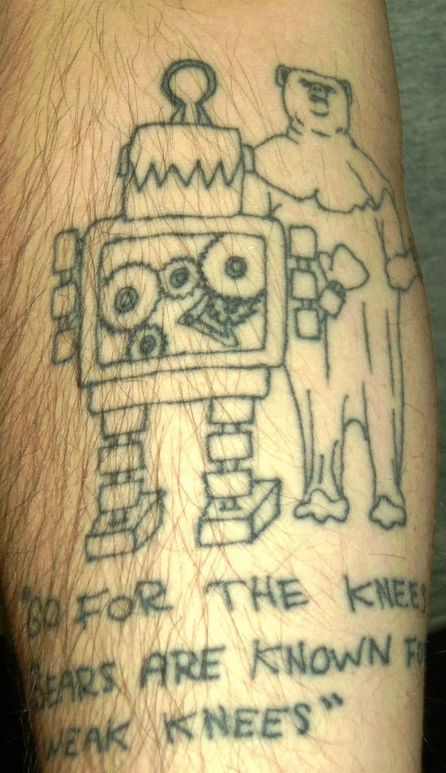 Robot and Bear Tattoo Design Ideas