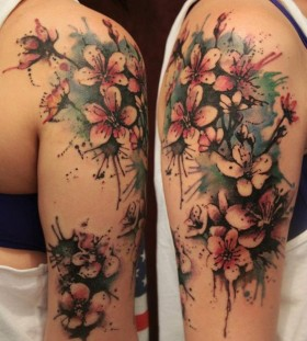 pretty arm watercolor flower tattoo