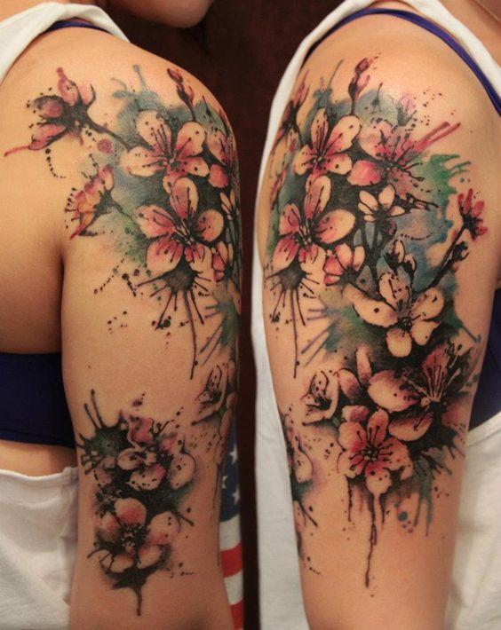 pretty arm watercolor flower tattoo